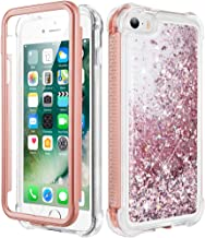 Caka iPhone SE Case, iPhone 5 Case, iPhone 5S Glitter Full Body Case with Screen Protector Bling Sparkle Floating Liquid Girls Girly Women Cute Protective Case for iPhone 5 5S SE (Rose Gold)