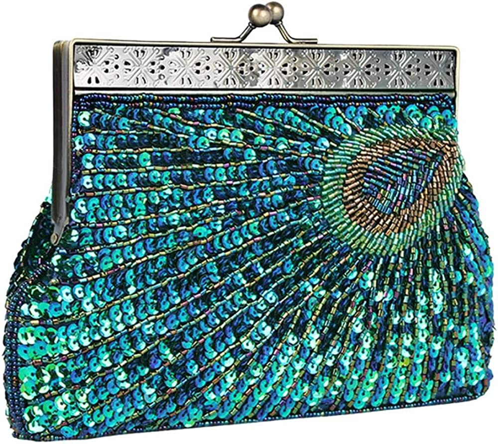 Womens Sequin Store Beaded Evening Bag Wedding Antique Peacock Year-end gift