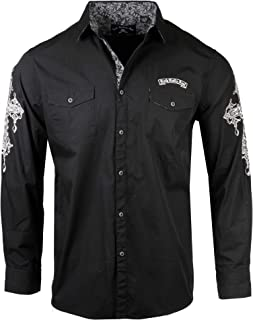 Men's 'Rebel Yell' Embroidered Long Sleeve Button Down Black Shirt 718B