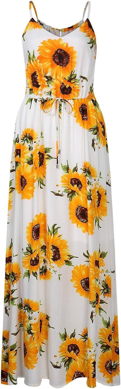 Leadingstar Women's VNeck Strap Floral Beach Maxi Dress
