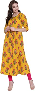 GULMOHAR JAIPUR Women's Cotton A-Line Kurti (Yellow)