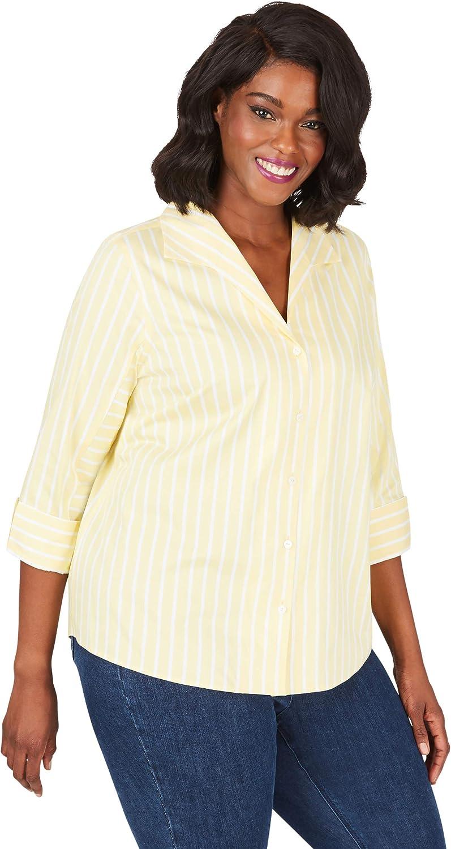 Foxcroft Womens Cisley Plus Non-Iron Career Stripe Shirt