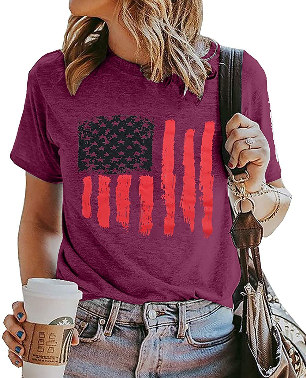 American Flag Shirts for Women Funny 4th of July Graphic Tee USA Patriotic T Shirt Casual Short Sleeve Tops