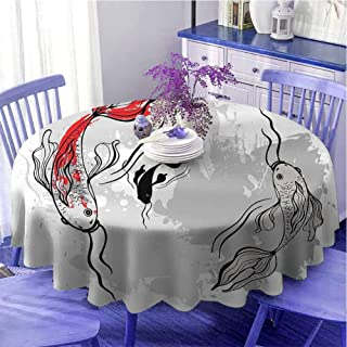 Nappe ronde japonaise multicolore style japonais esthétique numérique Motley Koï poisson marin Impression douce au toucher...