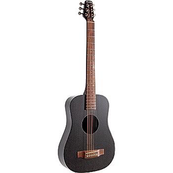 Klos - Chitarra acustica/elettrica da viaggio in fibra di carbonio, colore nero; la confezione include: chitarra, custodia, tracolla, capotasto e molto altro