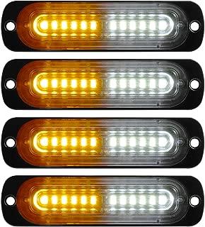 Teguangmei 12LED Surface Mount Grille Emergency Strobe Lights for Trucks Vehicle Warning Flashing Hazard Beacon Lights 12-24V(Amber&White -4PCS)