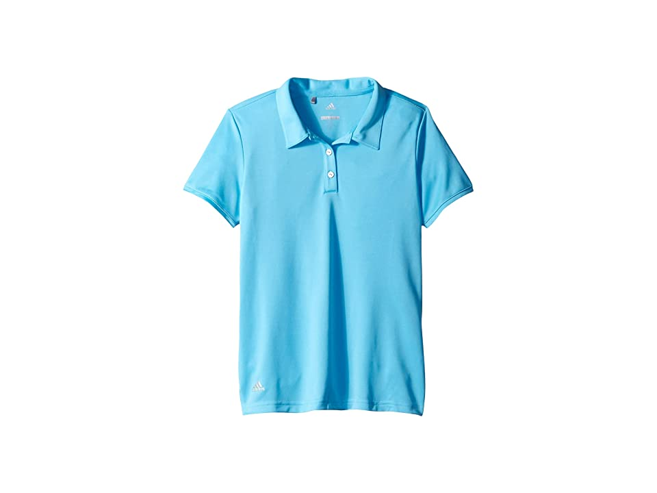 Image of adidas Golf Kids Tournament Short Sleeve Polo (Big Kids) (Bright Cyan) Girl's Clothing