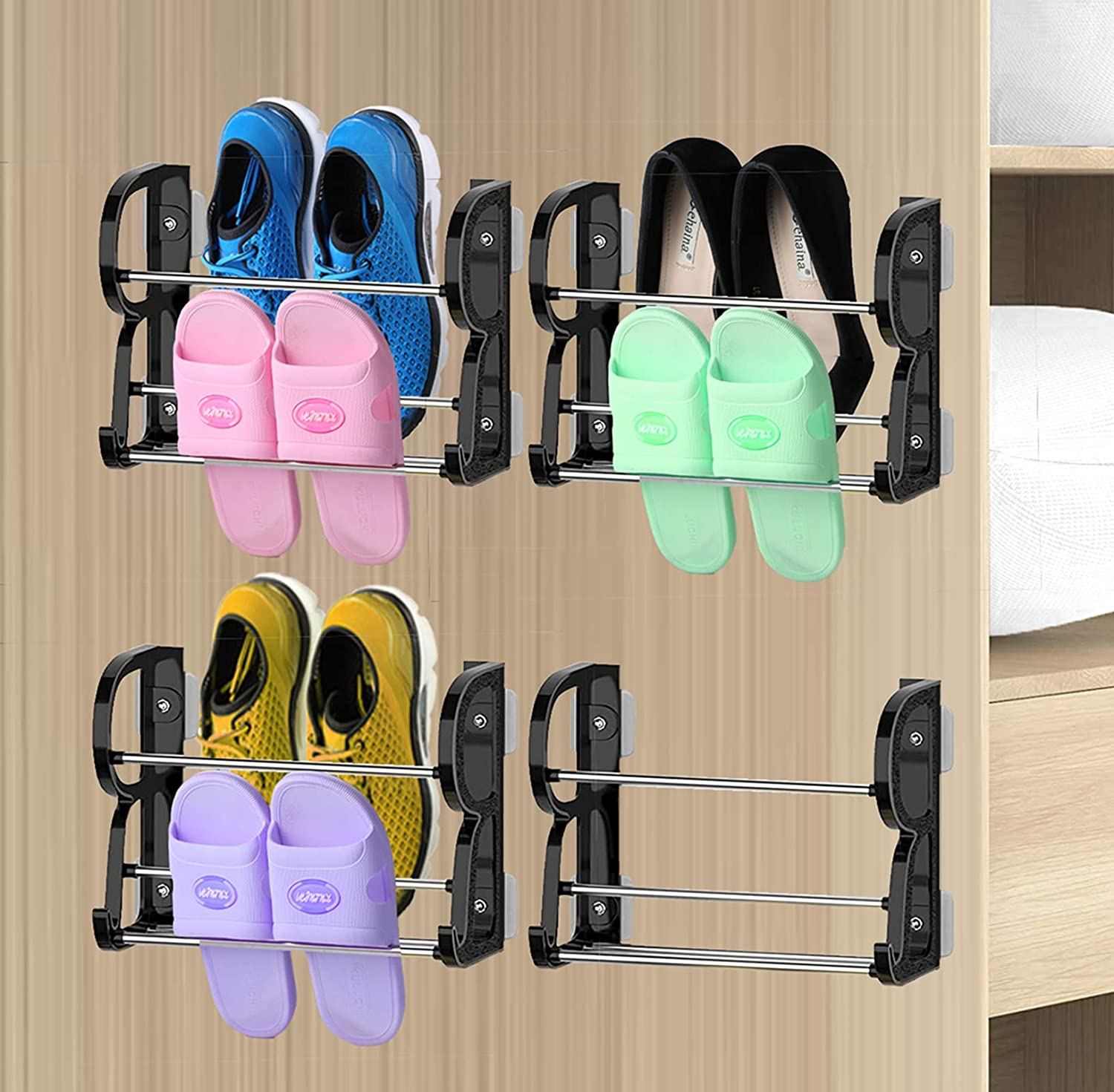 Wall Mounted Shoe Rack Excellent 4 Pack The Door Price reduction Organizer Over
