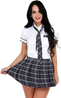 Oyolan Womens Schoolgirl Cosplay Uniform Outfits Short Sleeves Tie T-Shirt Pleated Plaid Skirt Sets
