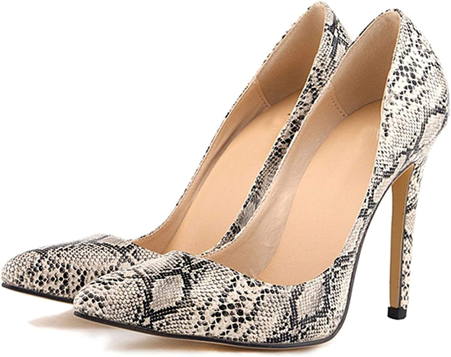 HANBINGPO Women Pumps Leopard shoes High Heels Sexy Pointed Toes Wedding shoes Woman Stiletto Heel Office Lady Dress shoes Casual Evening,Dark Snake shoes,4