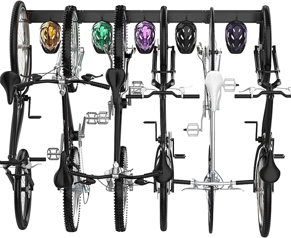 TORACK Bike Storage Rack, 6 Bike Racks & 5 Hooks for Garage, Wall Mount Vertical Bicycles Hanger for Home Space Saving, up to 600lbs, 64-inch