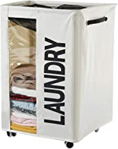 Haundry 85.8L Extra Large Laundry Basket Hamper on Wheels Clear Window Tall Dirty Clothes Hamper Organizer with Handles Co...