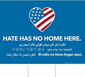 Little FootPrint Full Size 18 X 24 Official Hate Has No Home Here Yard Sign, Double-Sided, Metal Stake Included