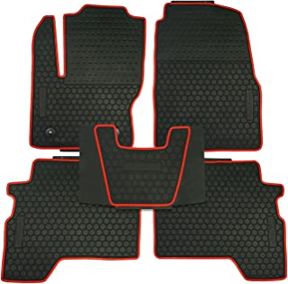 biosp Car Floor Mats for Ford Escape 2013-2019 Front And Rear Heavy Duty Rubber Liner Set Black Red Vehicle Carpet Custom Fit-All Weather Guard Odorless