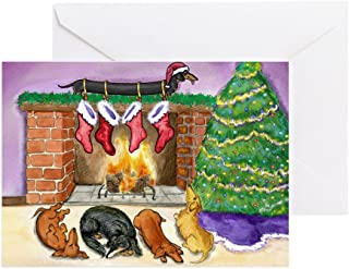 CafePress Dachshund Stockings Christmas Card Greeting Card, Note Card, Birthday Card, Blank Inside Glossy