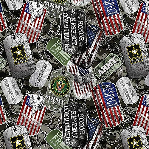 Army Military Dogtags Allover Design 43' Wide 100% Cotton Fabric Sold by Yard