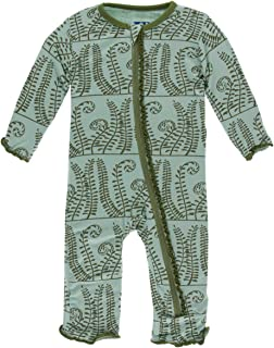 KicKee Pants Print Muffin Ruffle Coverall with Zipper (0-3 Months, Shore Ferns)