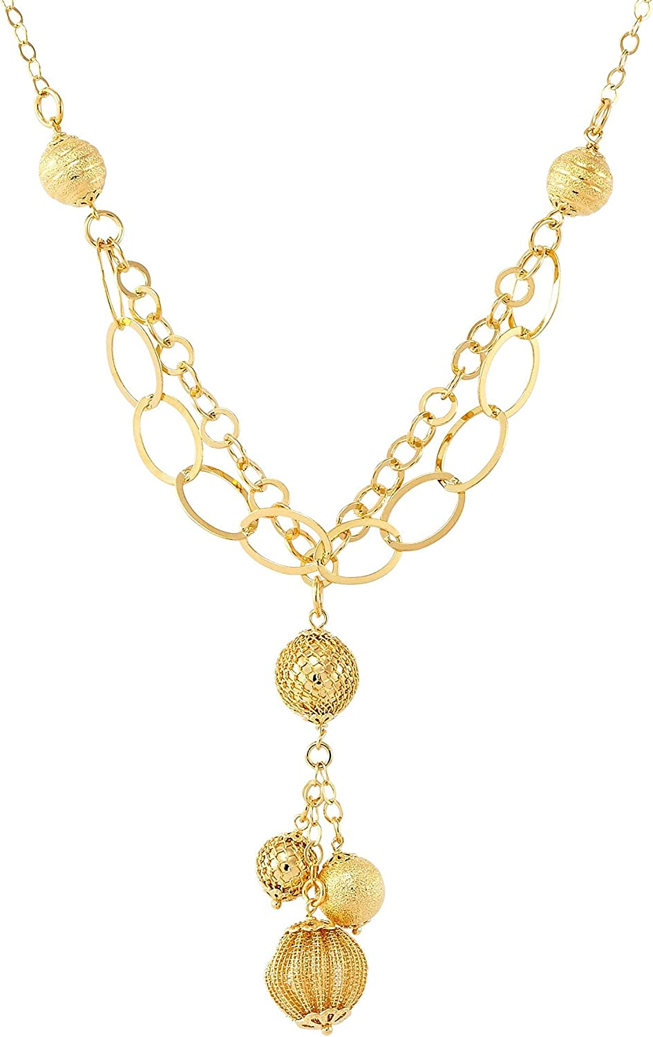 Finecraft 'Ball & Lariat Necklace' in Gold-Plated Bronze, 18