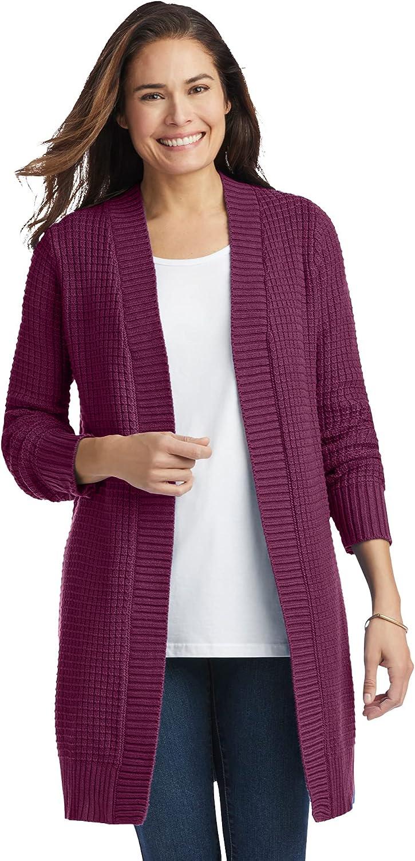 Woman Within Women's Plus Size Button Hem Cardigan