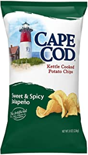 Cape Cod Potato Chips, Sweet and Spicy Jalapeno Kettle Cooked Chips, 8 Ounce (Pack of 12)