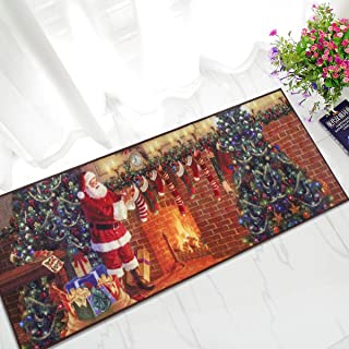Junovo Santa Claus Christmas Rugs for Living Room Bedroom Xmas Theme Kitchen Floor Carpet Non-Slip Door Mats, 2 ft x 6 ft Christmas Home Decor, Santa Claus