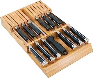 Utoplike Bloc de couteaux de cuisine en bambou à glisser dans le tiroir, grand manche pour couteaux à steak sans couteaux,...
