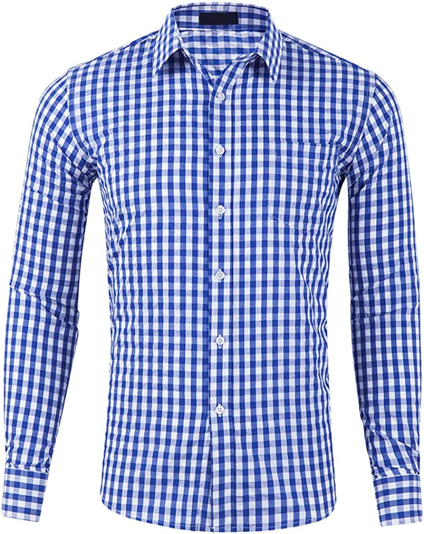 CATERTO Recommended Men Plaid Cotton Casual Slim Down Button Sleeve Fit Long low-pricing