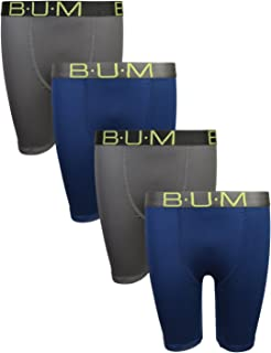 B.U.M. Equipment Boys' Performance Dry-Fit Compression Boxer Briefs (Pack of 4)