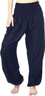Boho Vib Women's Rayon Print Smocked Waist Boho Harem Yoga Pants
