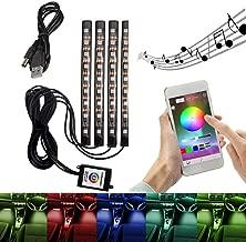 Coche interior atmósfera luces aplicación de control de Bluetooth para iPhone Android, 9 LED RGB luz tira neón decoración kit de iluminación con función activa de sonido para el coche TV Home TV