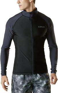 TSLA Men's Long Sleeve Zip Rash Guard, UPF 50+ UV/Sun-Protection Quick Dry Swim Shirts Active Top, Swimming Surfing Shirt ...