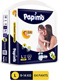 Papimo Baby Pants Diapers with Aloe Vera, Large, 64 Count
