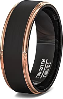 Duke Collections Mens Wedding Band Two Tone Black Brushed Tungsten Ring 8mm Rose Gold Step Edge Comfort Fit