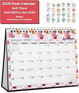 Desk Calendar 2020 (8x6, Floral) 16 Gorgeous Monthly Designs, Use Small Desktop Calendar from September 2019, Double-Sided, Beautiful Tent Standing Easel Table Calendar