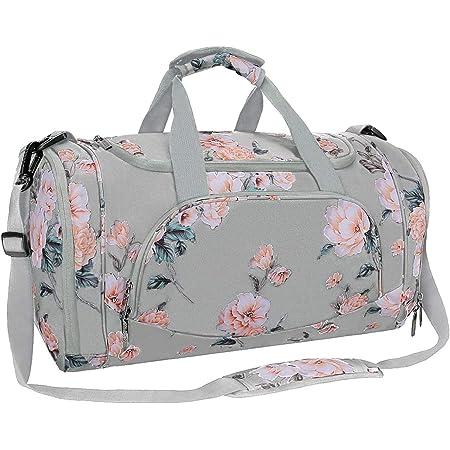 MOSISO Sport Gym Tasche Reisetasche mit Vielen Fächern, Wasserdicht Sporttasche Pfingstrose Seesack für Tanzen, Fitness, Sport und Reise mit Schuh Abteil, Grau