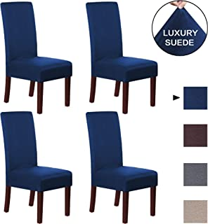 H.VERSAILTEX Navy Dining Chair Cover Protector Rich Suede...