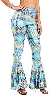 BLACK JACKY Women's Sexy Shiny Mermaid Fish Scale Wide Leg Bell Bottoms Flare Pants Leggings