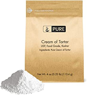 Cream of Tartar (4 oz.) by Pure Organic Ingredients, Eco-Friendly Packaging, All-Natural, Non-GMO, Kosher, for Baking, Cleaning, DIY Bathbombs, More