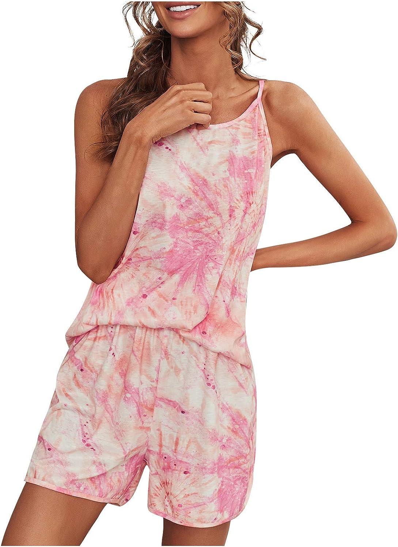 JPVDPA Comfy Women's Sleepwear,Sleeveless Shorts Suit Fashion Sleeveless Shorts Set Printed Household Suit