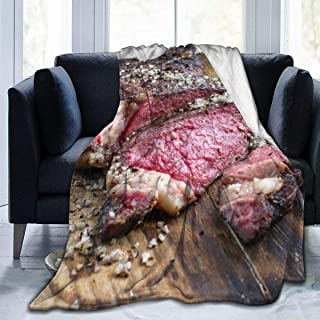 Buffalo Brown American Barbecue Dry Aged Wagyu Tomahawk Steak Board Food Drink Beef Red Angus Australian Bbq 60x50 Inch Warm Fluffy Plush Blanket for Bed Couch Chair Living Room Fall Winter Spring Gif
