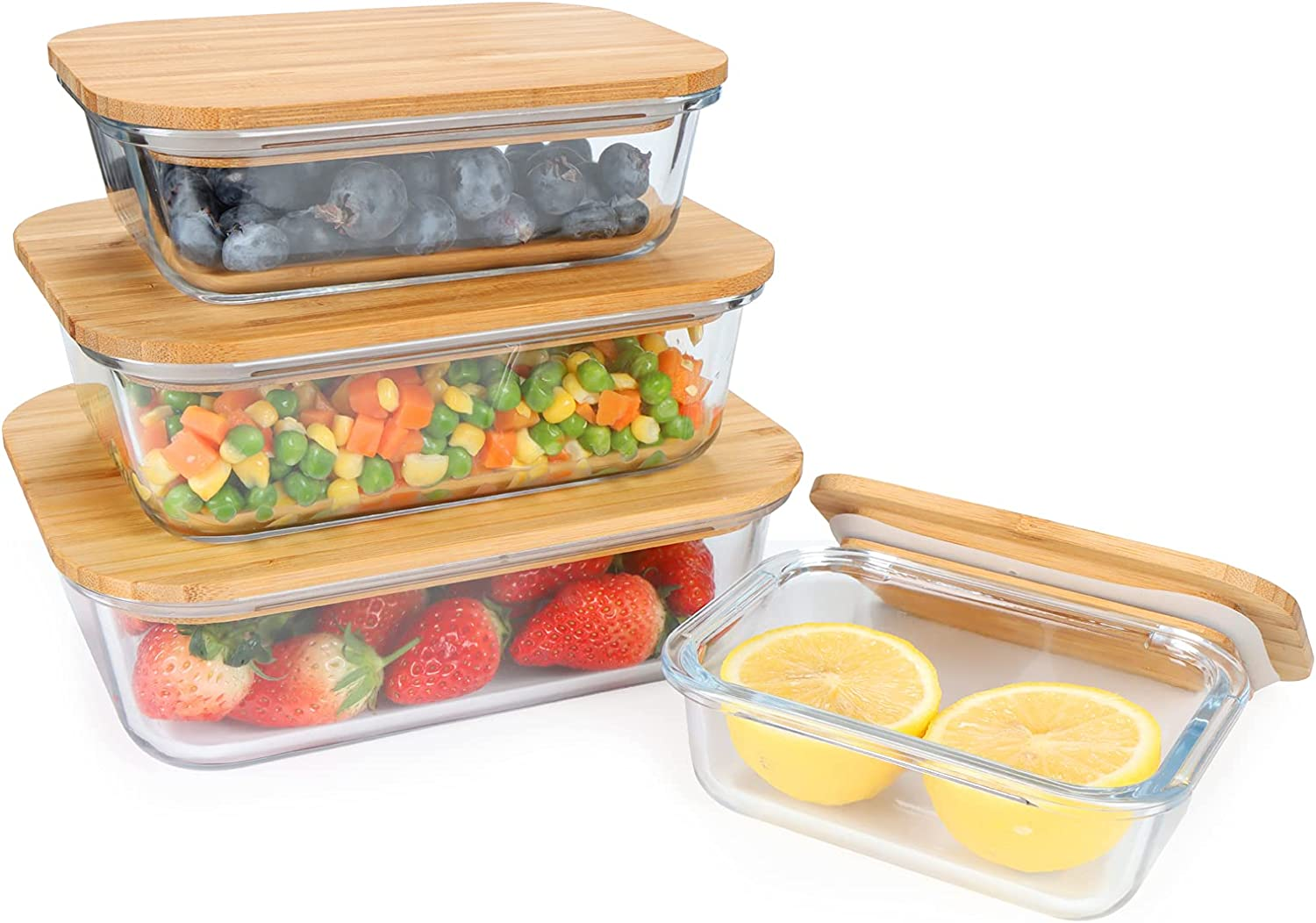 Glass Food Storage Containers sets with Bamboo Lids, Set of 4, Reusable. Plastic Free, BPA Free. Multi-Pack Glass Bamboo Boxes for Meal Prep, Leftovers, Baking, Cooking & Lunch.SimplyGarden