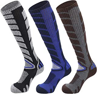 Extra Warm Wool Ski Socks Mens Mid-Weight Knee High Socks for Skiing Snowboarding(3 Pair)