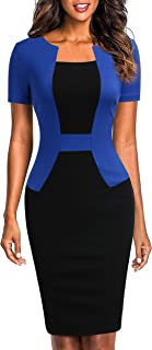 Sponsored Ad - Mmondschein Women's Short Sleeve Colorblock Sheath Pencil Business Church Dress
