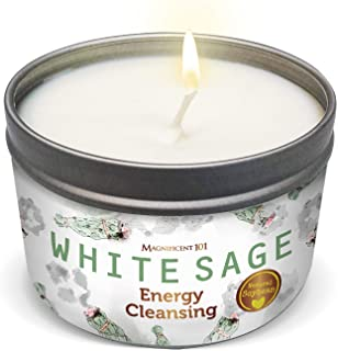 MAGNIFICENT101 White Sage Smudge Candle for House Energy Cleansing, Banishes Negative Energy I Purification and Chakra Hea...