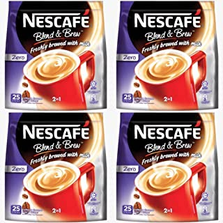 4 Pack Nescafe Zero Sugar Added 2 in 1 Instant Coffee Imported from Nestle Malaysia (4x25 Sticks)