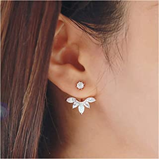 Rose Gold Leaf with Cz Crystal Ear Cuff Jacket Front Back Stud Earring for Woman Girls(Two Pairs)