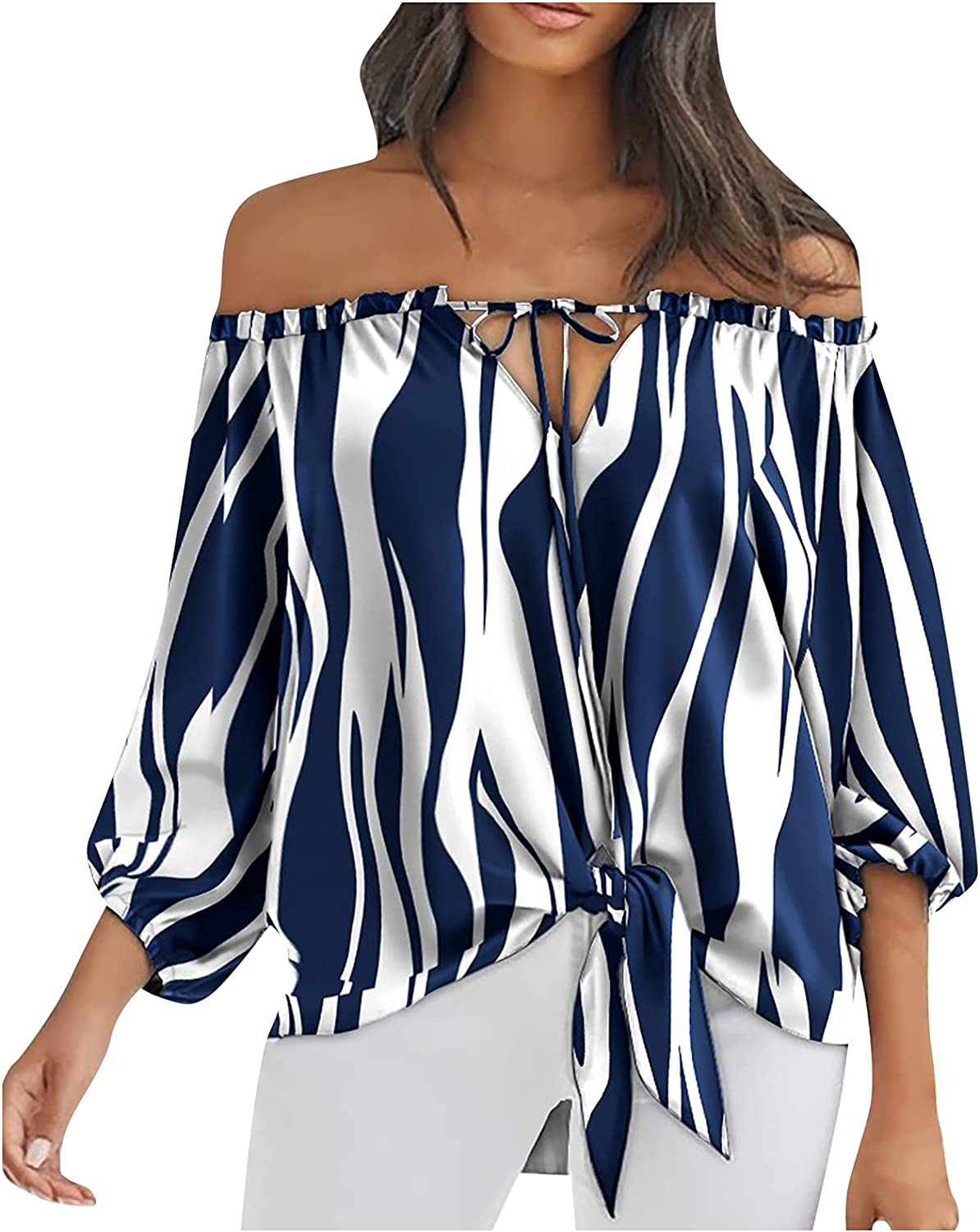 MEIbibibi Tie Knot Blouse for Women V-Neck T-S Year-end gift San Antonio Mall Shoulder Off Deep
