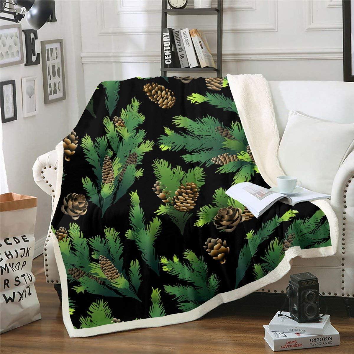 Sale special price Erosebridal Pine Cones Plush Bed King Branches Size Blanket Lea gift