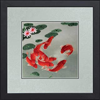 King Silk Art 100% Handmade Embroidery Framed Nine Red Japanese Koi & Lotus Leaf Oriental Wall Hanging Art Asian Decoration Tapestry Artwork Picture Gifts
