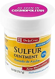De La Cruz 10% Sulfur Ointment Acne Medication, Allergy-tested, No Preservatives, Fragrances or Dyes, Made In Usa 2.6 Oz